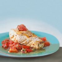 Baked Grouper with chunky tomato sauce. Only 250 calories. Thats what I'm talkin about :)