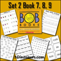 OB Book Set 2 Book 7,8,9 - Vowel Word Paths, Read Write & Stamp, Making BOB Book Words, Write a Sentence with the Word, Which One is Different, Color the Sight Word, and Cube Flashcards. #free #printables