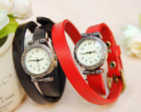 6 colors Punk Women Wrist watch, Wrapped Watches Bracelet,Double wrap Rivet wrist watch,Handmade Bracelet Leat
