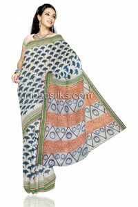 Love to experiment and have fun, then this madurai saree is exactly what you are looking for. This is fascinating half white color madurai cotton saree. This sari has got all over blue block prints along with 2 inch green zari churi contrast border. An...