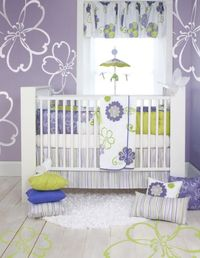 The Lulu by Sweet Potato is a beautiful Baby Crib Bedding. This collection is ideal for those parents that are not crazy about pink. You will love the flowers the lavender. The sweet combination of green, white and lavender is sure to make you baby girls ...