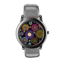 Cute colorful floral on black background and a silver glitter strap watch