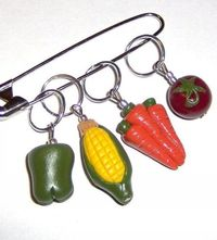 VEGGIE Stitch Markers / for knitting needles / by scarymerry, $10.00