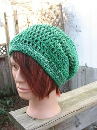 Organic Green Crocheted Slouch Hat 208/12 by zoya49 on Etsy, $35.00