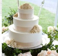 cake inspiration. I'd really like this with ivory buttercream, champagne ribbon, little pearls, and red roses