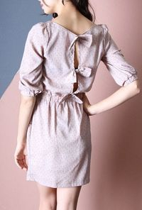 Dandelion Wish Bow Back 3/4 Sleeve Dress in Mauve
