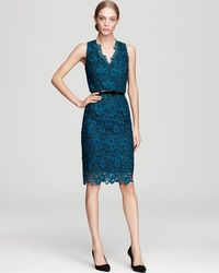 Aidan Mattox Lace Dress - V Neck Belted