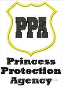 Princess Protection Agency Embroidery Machine Applique Design Multiple Sizes, including 4 inch hoop, $3.75