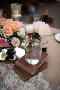 Love the use of books in the centerpiece to add texture and depth