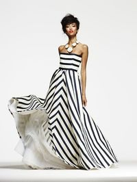 striped ball gown