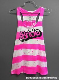 Barbie Bride Bridesmaid Racerback Tank Wedding Hot Pink Stripe Bachelorette Party Girls Night out Trip to the Beach Romper Hot Pink. $40.00, via Etsy.