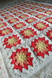 Yellow Peach and Coral Granny Square Baby Afghan by tillietulip