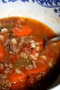 Hearty Hamburger Soup...would have been way better without the cabbage.