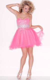 Sparkly Beading Jewels Strapless Layered Short Dress Pink