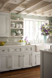 Lovely! I love the pale colors. Suzie: BHG - Cottage kitchen with seafoam green painted beadboard walls, white kitchen cabinets ...