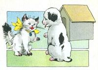 Vintage Kitten & Puppy Illustration
