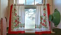 Vintage Christmas tablecloth turned kitchen curtains