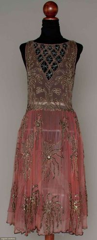 Pink and Silver Beaded Party Dress - 1920's