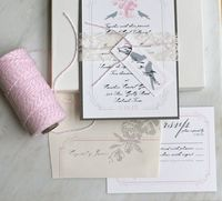 Pink, grey and white vintage rustic wedding invitations. Love the birds and the border!
