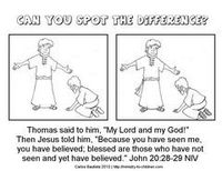 jesus doubting thomas spot the difference coloring page worksheet
