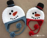 Repeat Crafter Me: Crochet Snowman Hat Pattern.