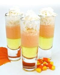 Candy Corn Shooter - Thanksgiving - Halloween - cream, whipped cream, grenadine, orange curacao, coconut rum, banana liqueur, Oranje Van Gogh Vodka.