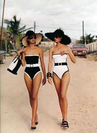Classic black and white swimsuit ...