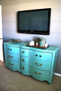 Painted dresser to use as TV stand.