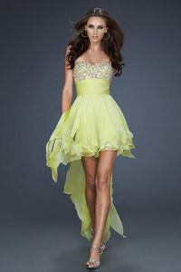 Strapless Light Lime High to Low Prom Dresses Sparkly