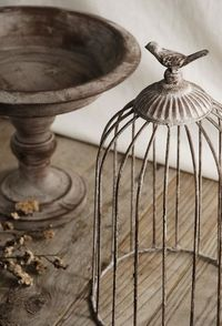 Antiqued Metal Pedestal with Cage