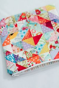 patchwork zippered purse