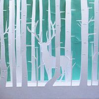 deer in the forest of white birch. mollyjey.