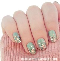 Mint + Confetti Nails