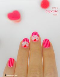 Cute cupcake nails with hearts