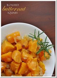 Roasted Butternut Squash with rosemary, caramelized onion, & a touch of spicy heat.